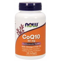 CoQ10 60 mg with Omega-3 Fish Oil 120 Softgels Now foods
