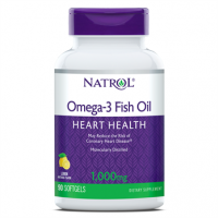 Omega 3 Fish Oil Heart Health, 1,000 mg, Lemon Softgels, 90ct Natrol